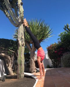 Handstand against cactus