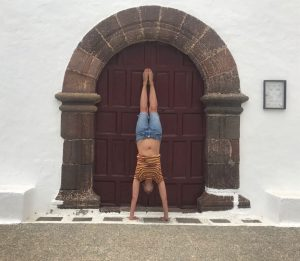 Handstand against door, for space within handstand challenge for all abilities